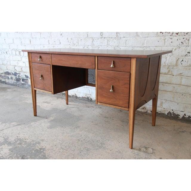 Danish Modern Broyhill Brasilia Mid-Century Modern Sculpted Walnut Desk For Sale - Image 3 of 13