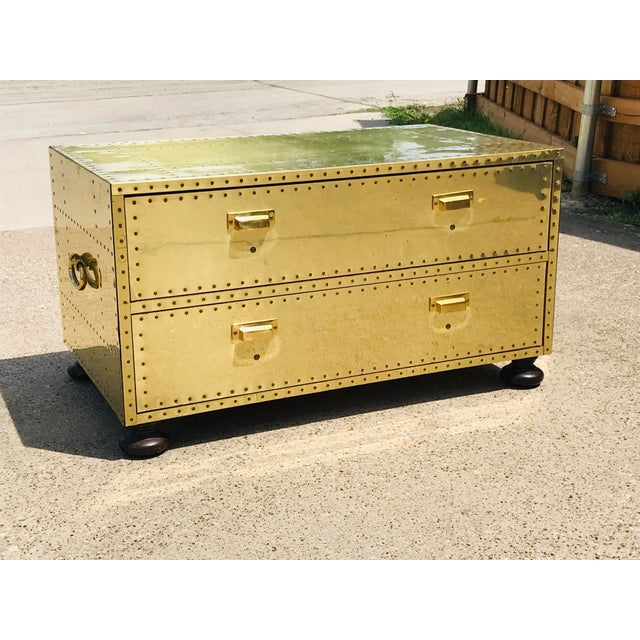 1960s Campaign Brass Sarreid Two-Drawer Studded Low Chest of Drawers For Sale - Image 12 of 13