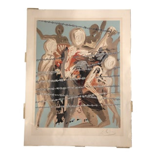 Original Vintage Salvador Dali Figures With Barbed Wire Large Signed Lithograph For Sale