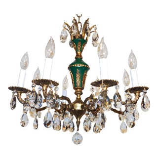 1950s French Empire Brass 8 Arm Green W Ormolu Lead Crystal Chandelier For Sale