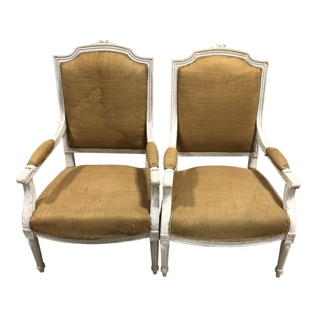 Vintage Upholstered Louis XVI Neoclassical Squareback Chairs - A Pair For Sale