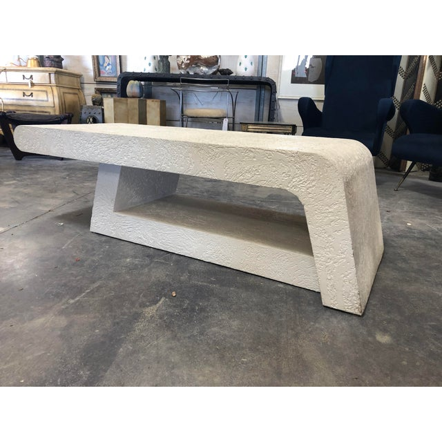 White 1980's Plaster Coffee Table/Bench For Sale - Image 8 of 8
