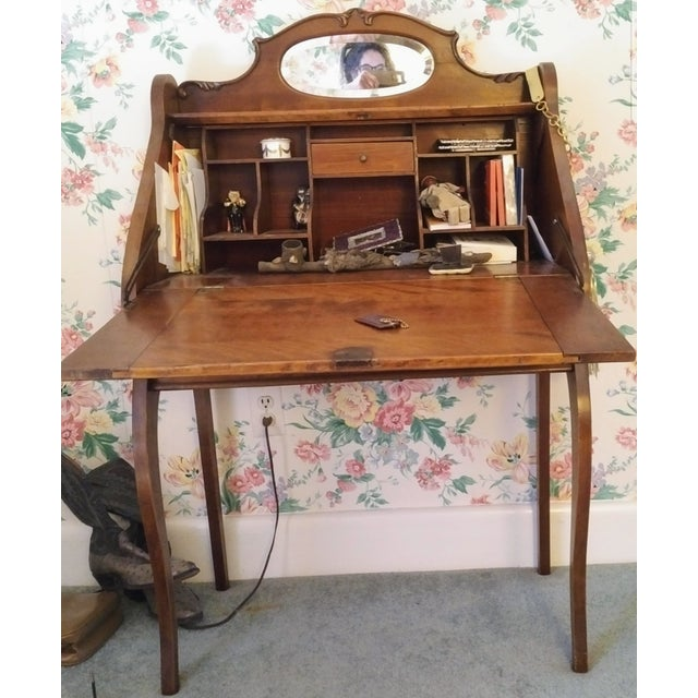 Cherry Petite Antique Writing Desk For Sale - Image 9 of 10