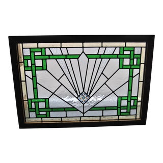 20th Century English Art Deco Style Stained Glass Window For Sale