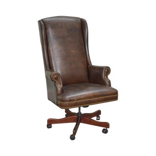 Quality Brown Leather High Back Executive Office Chair (C)