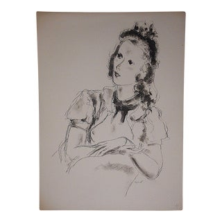 Andre Dignimont Vintage Lithograph - Pretty Woman For Sale