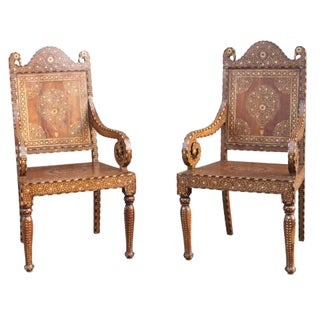Pair of Bone Inlay Peacock Chairs For Sale