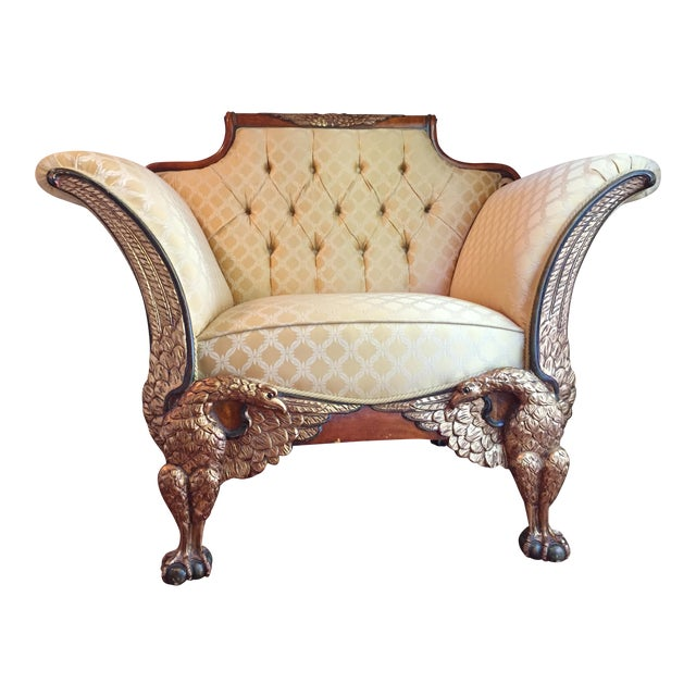 Empire Russian Style Accent Chair with Double Eagle & Ball Foot For Sale