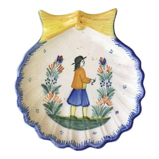 Early 1900s Antique French Faience Shell Platter Quimper For Sale