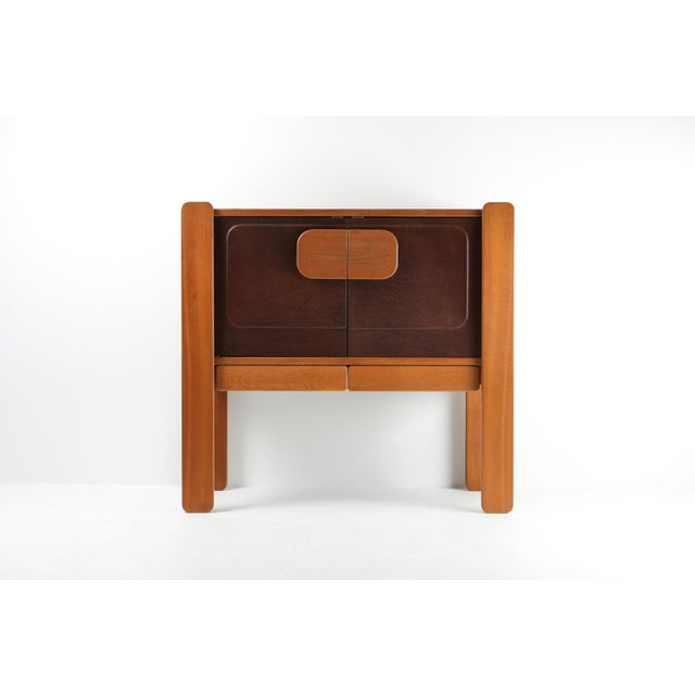 Postmodern storage piece with leather door panels, made in Belgium, 1970s. Well executed cabinet in oak and leather.