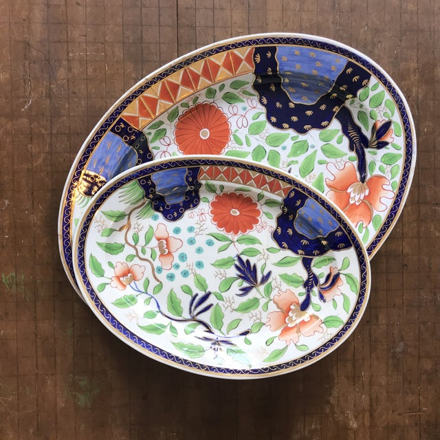 Blue 1820s Gaudy Ironstone Platters - a Pair For Sale - Image 8 of 11