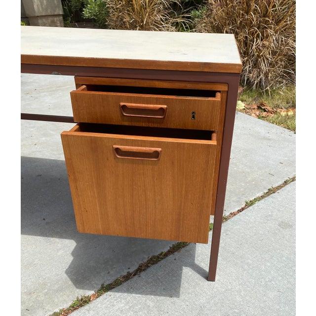 Brown Jens Risom Early Teak, Metal and Vinyl Oversized Desk For Sale - Image 8 of 12