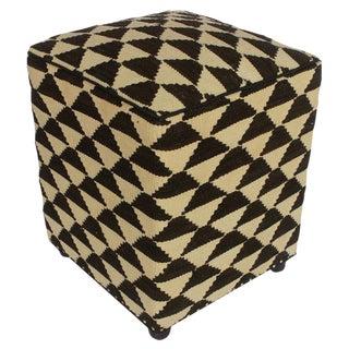 Arshs Dedra Ivory/Black Kilim Upholstered Handmade Ottoman For Sale