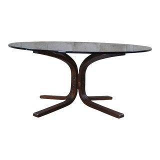 Ingmar Relling Westnofa Teak & Smoked Glass Siesta Coffee Table Round MCM For Sale