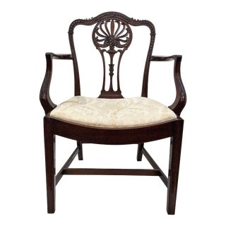 Pair Antique 19th Century Beautifully Hand-Carved Mahogany Armchairs. For Sale