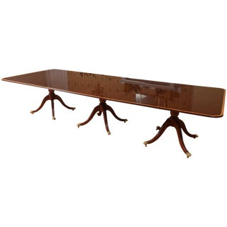 Impressive Long Solid Mahogany Dining Room Table, Triple Pedestal, Inlaid Band For Sale