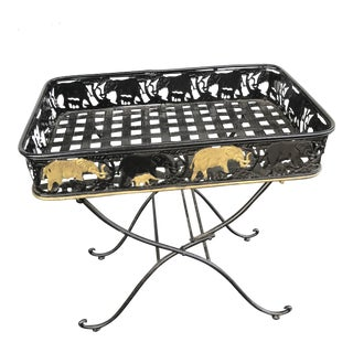 Contemporary Folding Table Side Tray With Elephants For Sale