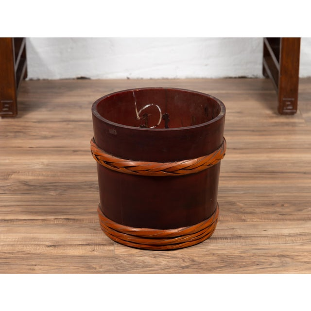 Wood Vintage Chinese Wooden Barrel Planter with Rope Design with Red Undertone For Sale - Image 7 of 10