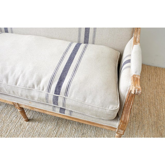 Late 20th Century French Louis XVI Style Bleached Oak Settee Loveseat For Sale - Image 5 of 13