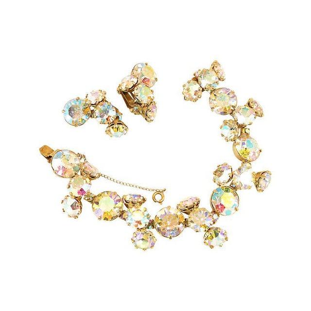 Gold Vogue Ab Crystal Bracelet Set, 1950s For Sale - Image 8 of 8