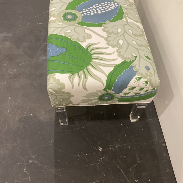 Plastic Custom Bench With Lucite Legs For Sale - Image 7 of 11