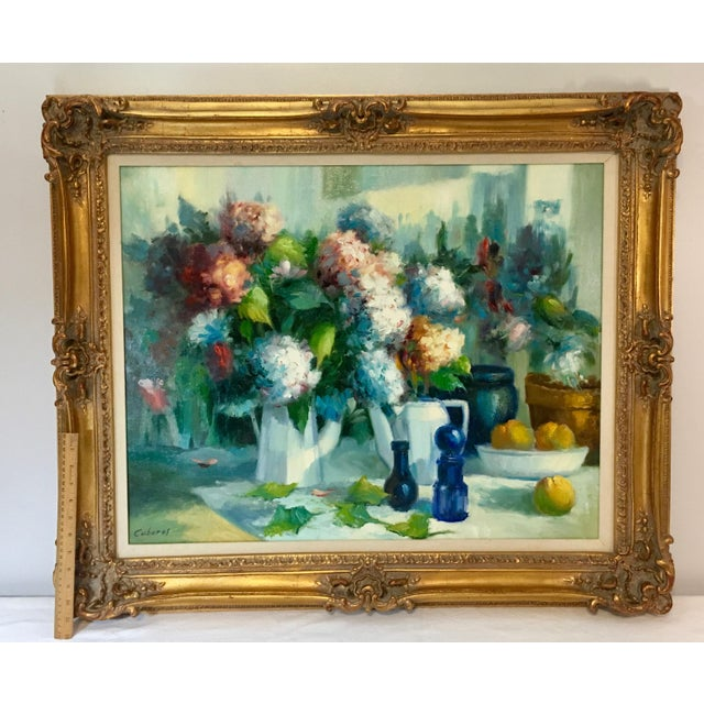Blue Vintage Still Life With Flowers Oil Painting by Manuel Cuberos For Sale - Image 8 of 12