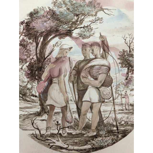 Figurative Sporting Watercolor by William Palmer, 1940 For Sale - Image 6 of 7