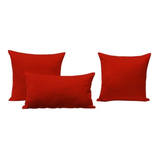 Red Outdoor Throw Pillows - Set of 3 For Sale