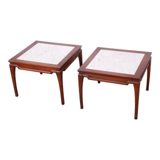 Mid-Century Fruitwood Side Tables With Italian Marble Tops, - a Pair For Sale