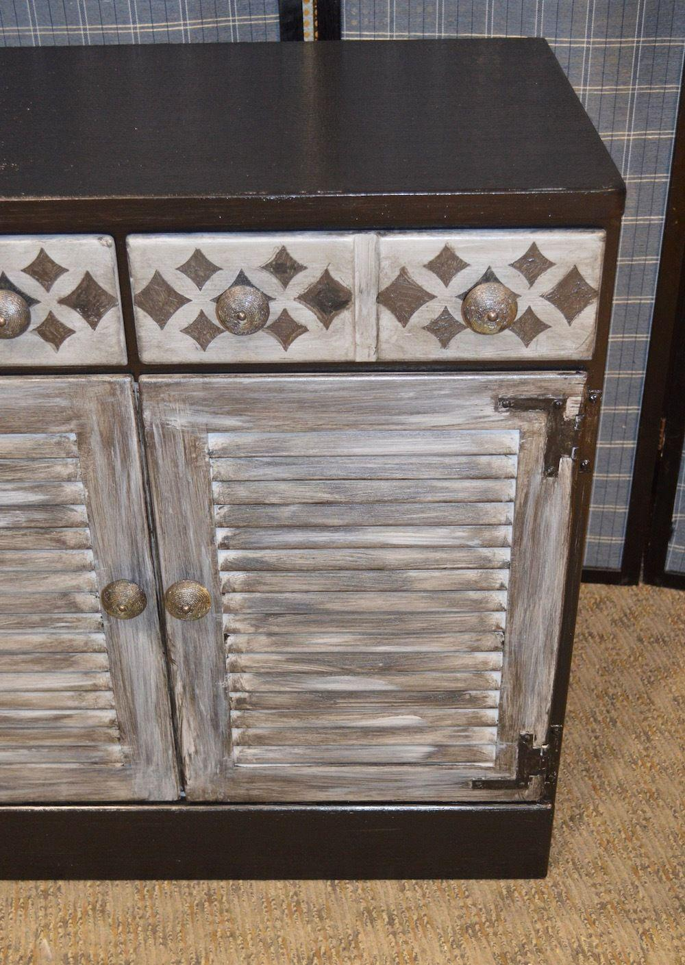 Vintage Industrial Ethan Allen Shabby Distressed Accent Cabinet