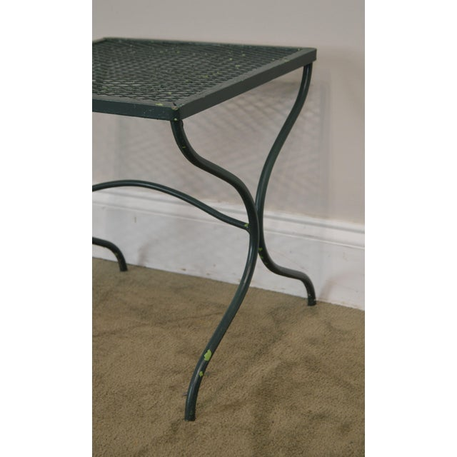 Salterini Vintage Expanded Metal Wrought Iron Pair X-Base Patio Side Tables For Sale - Image 12 of 13