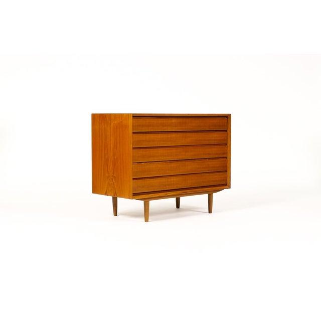 Brown Mid-Century Danish Modern Teak 5 Drawers Upright Chest / Dresser For Sale - Image 8 of 8
