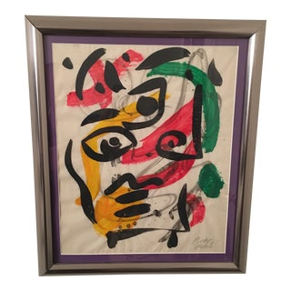 1960s Peter Keil Colorful Cubist Abstract Painting