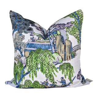 Asian Scenic by Thibaut Coral and Green Pagoda Print Chinoiserie Pillow For Sale