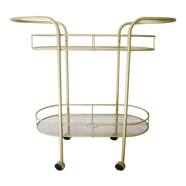 Vintage Mid-Century Gold Metal & Glass Bar Cart - Image 1 of 6