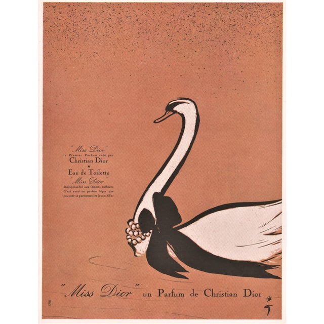 Christian Dior Midcentury French perfume print for Dior by Gruau For Sale - Image 4 of 4