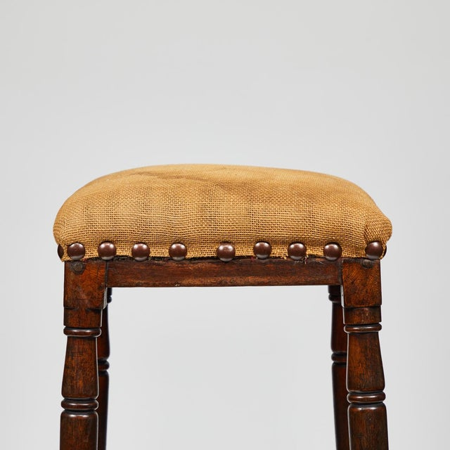 Late 19th Century English Tall Upholstered Stool With Bottom Shelf For Sale - Image 4 of 10