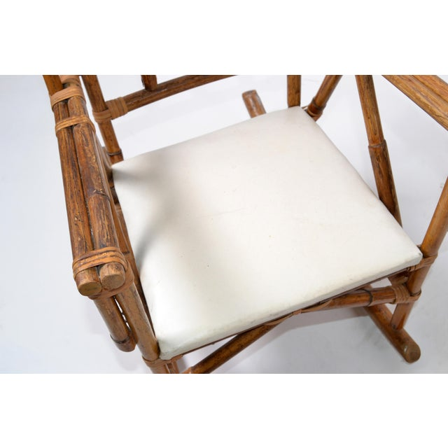 Mid-Century Modern Boho Style Bamboo & Vinyl Children Rocking Chair For Sale In Miami - Image 6 of 13