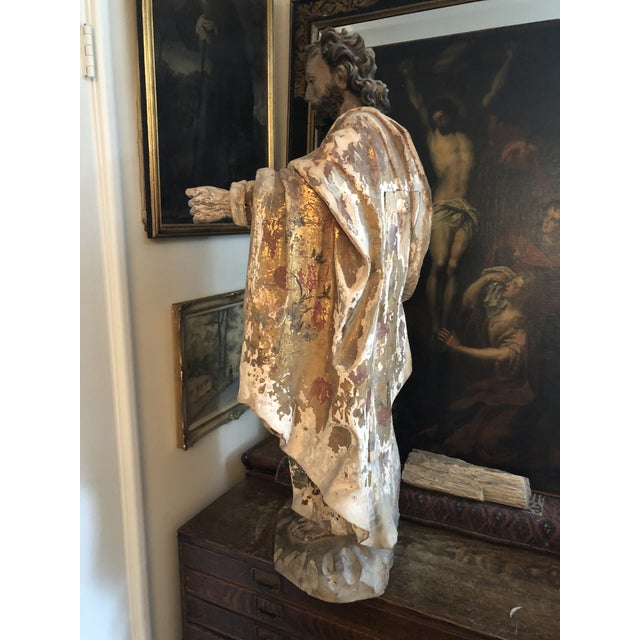 17th Century Continental Carved Wood Gesso Polychrome Apostle Sculpture For Sale - Image 4 of 13