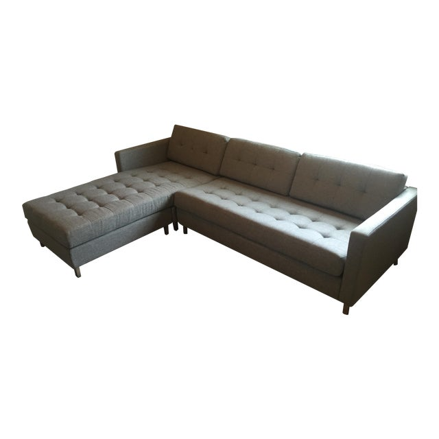 Cb2 Ditto II Gray Sectional Sofa For Sale