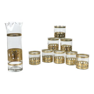 Vintage Culver Antigua 22k Gold Small Cocktail Glasses and Pitcher - Set of 9 For Sale