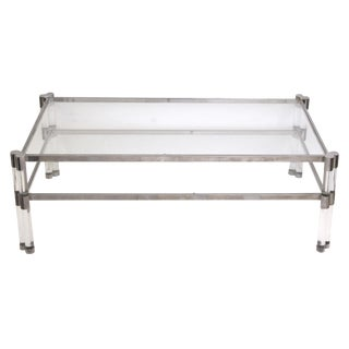 A Stylish French 1970's Pierre Vandel Glass and Lucite Coffee Table With Nickel Plated Frame For Sale