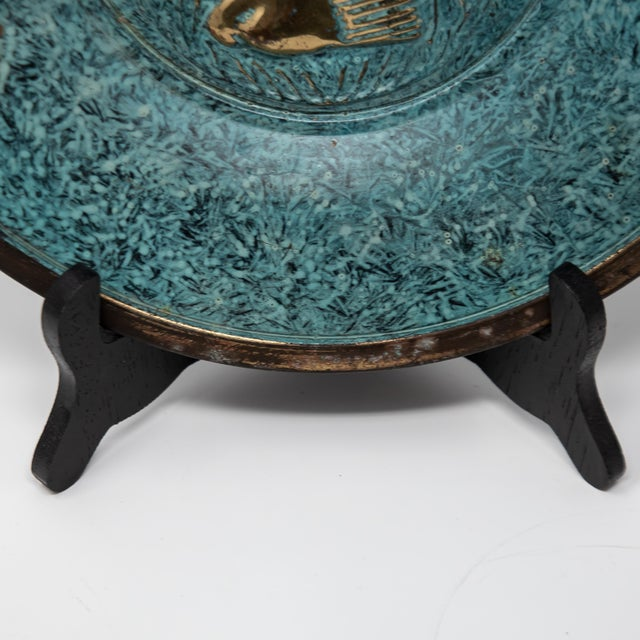 Florintine Green Patina Wall Accent Decorative 12' Plaque / Plate For Sale In Dallas - Image 6 of 10