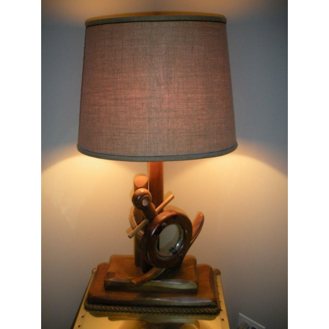 Nautical Hand Crafted Pine Wood Lamps - A Pair For Sale - Image 4 of 13