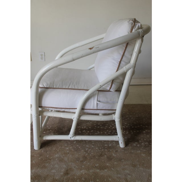 Mid 20th Century Vintage Mid Century White Bamboo Chairs - a Pair For Sale - Image 5 of 12