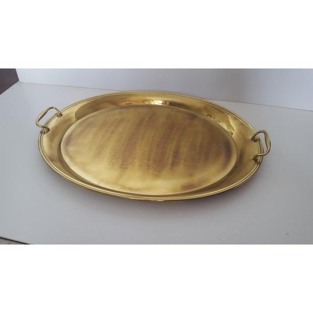 Gold Large Vintage Hollywood Regency Brass Handled Serving Tray For Sale - Image 8 of 11