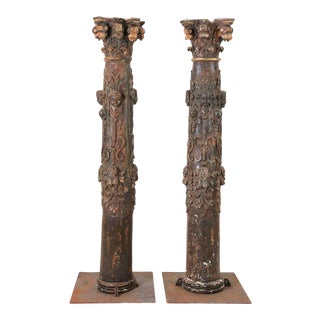 "17th Century Monumental 80"" Baroque Carved Columns - a Pair For Sale"