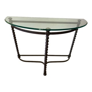 Iron Barley Twist Demilune Console With Bevelled Glass Top For Sale
