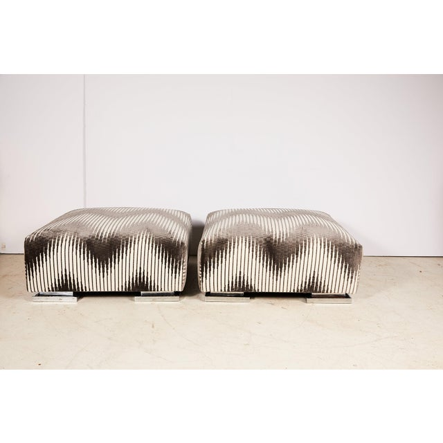 Mid-Century Modern Pair of Midcentury Chrome Footed Ottomans in Jim Thompson Fabric For Sale - Image 3 of 13