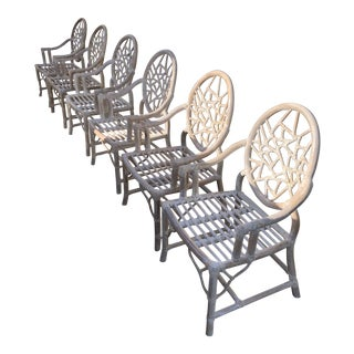 1990s Vintage McGuire Style Rattan Cracked Ice Back Dining Arm Chairs- Set of 6 For Sale